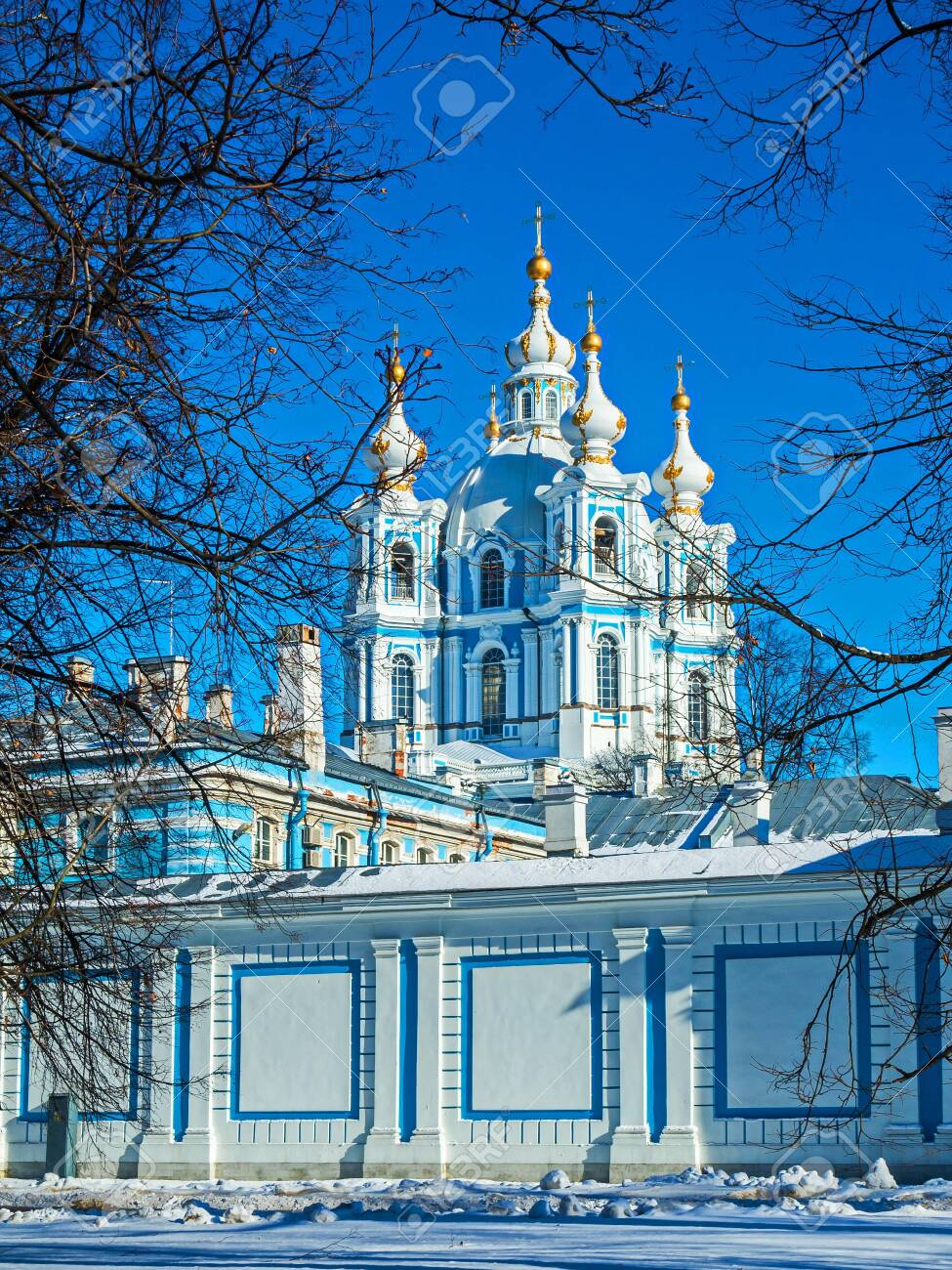 White Baroque lace on the blue facades of Rastrelli. Smolny Cathedral in St. Petersburg. - 118780679