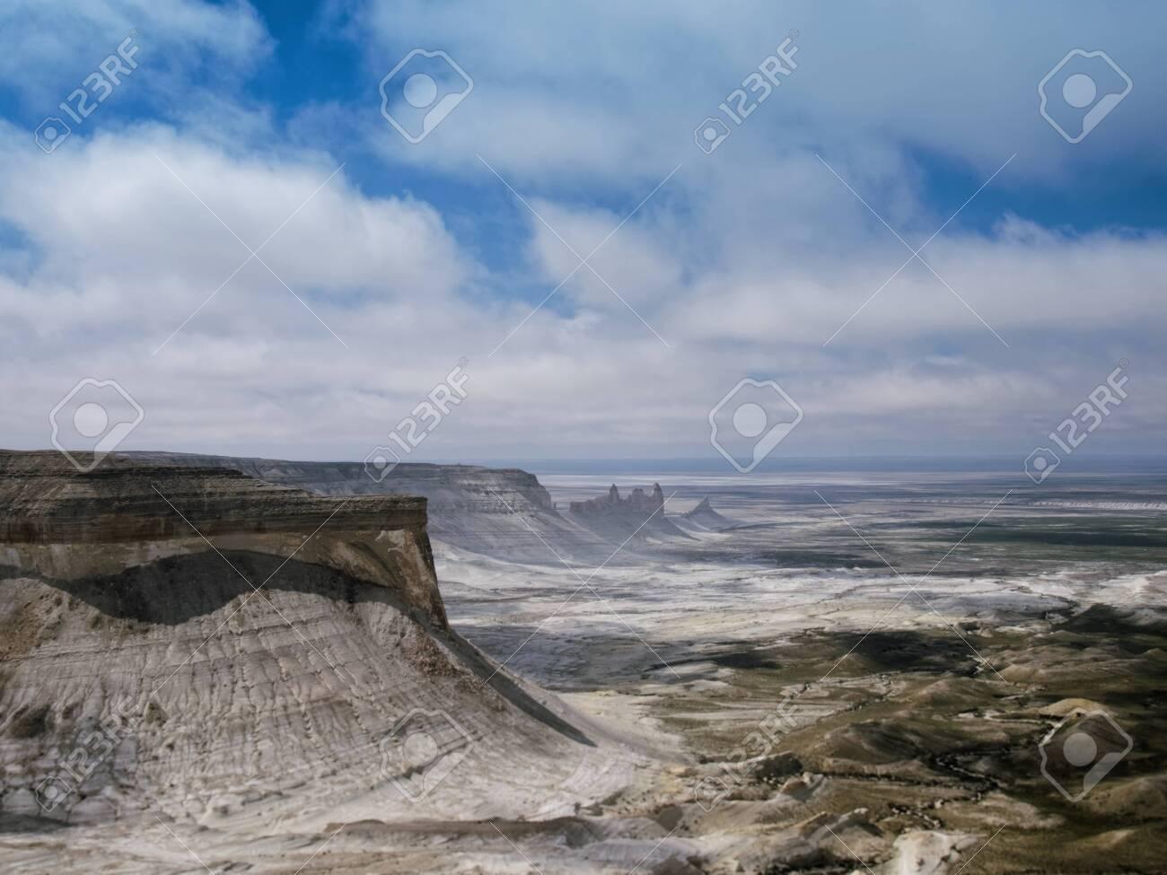 Chalk cliffs and ledges of the plateau Aktolagai. Plateau Aktolagai, Kazakhstan 2019.Expedition site Turister.ru. - 142252652