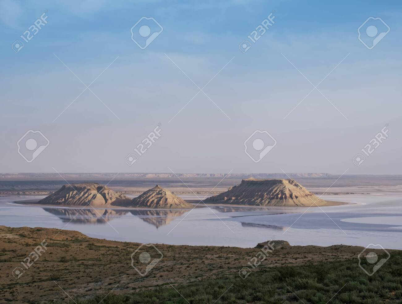 """Mountains, rocks """"Three brothers"""" in the salt marsh East. - 142655251"""