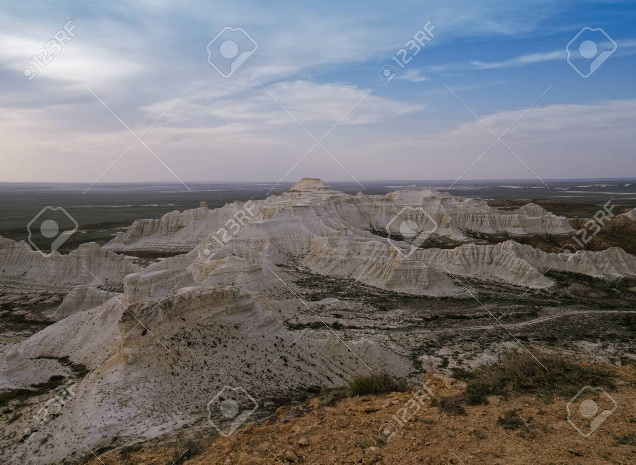 Chalk cliffs and ledges of the plateau Aktolagai. Plateau Aktolagai, Kazakhstan 2019.Expedition site Turister.ru. - 142655259