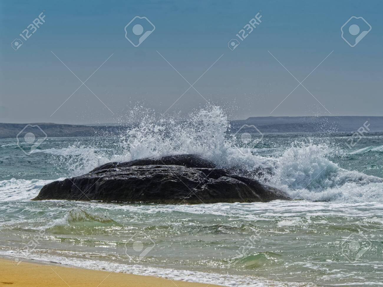 Game of sea waves on the coast of the Caspian sea. - 136880686