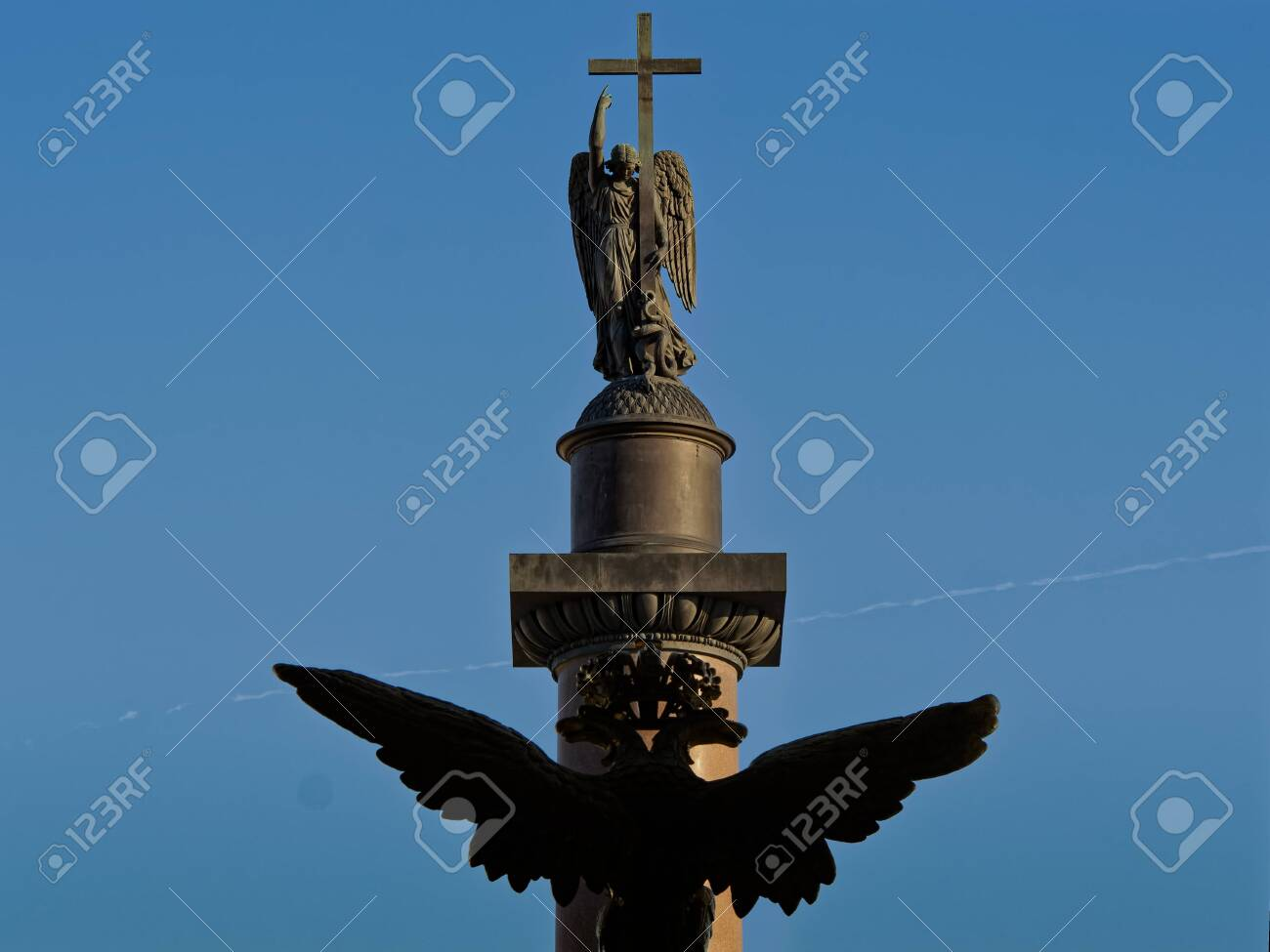 Two-headed crowned eagle and guardian angel of Saint Petersburg. - 142252675