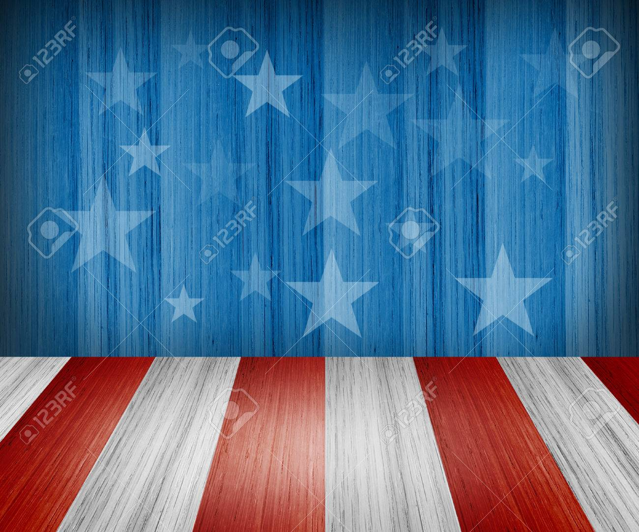 USA style background - empty wooden table for display montages - 43677808
