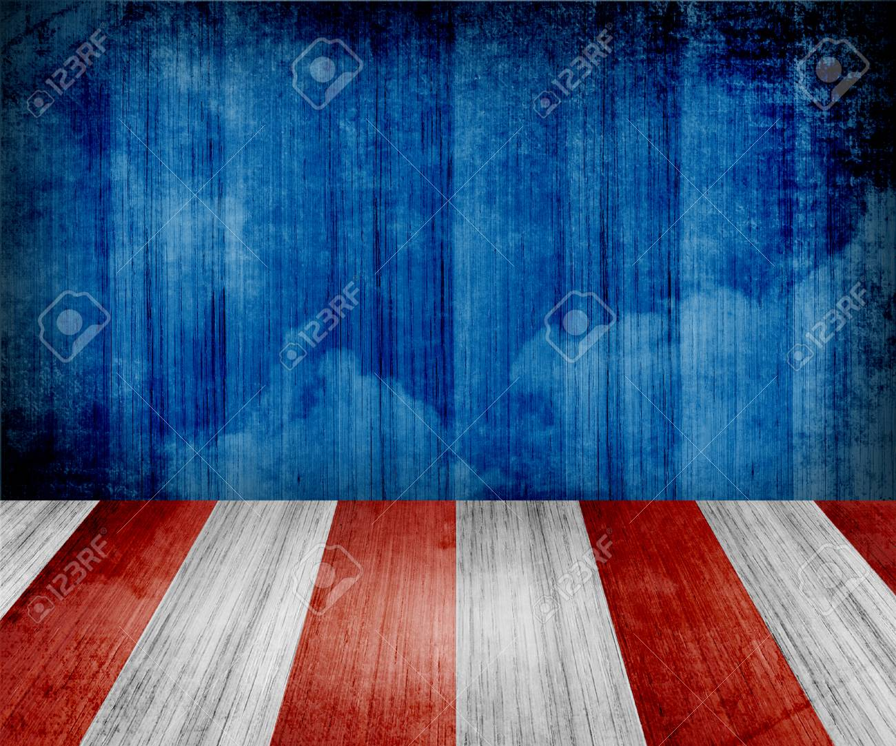 USA style background - empty wooden table for display montages - 43678911