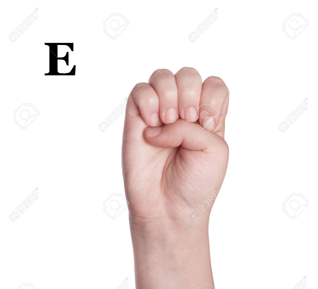 Finger spelling the alphabet in american sign language asl the letter e stock