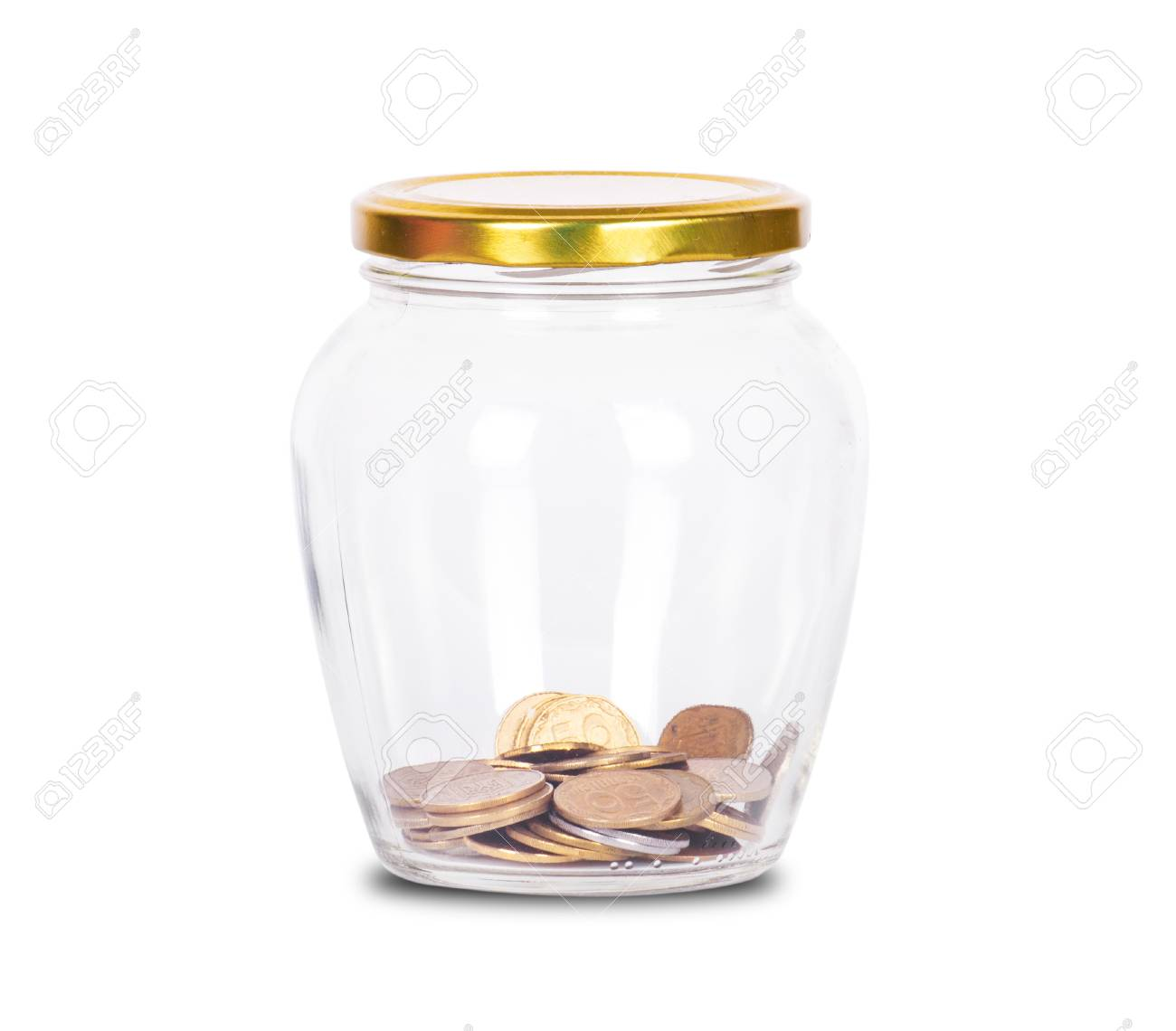 Coins in glass money jar, on white background - 50175304