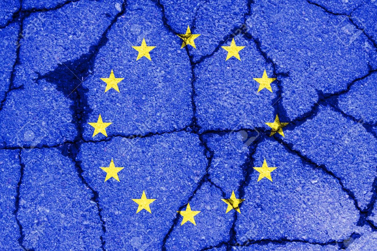 brexit blue european union EU flag on broken wall and half great britain flag - 61043895