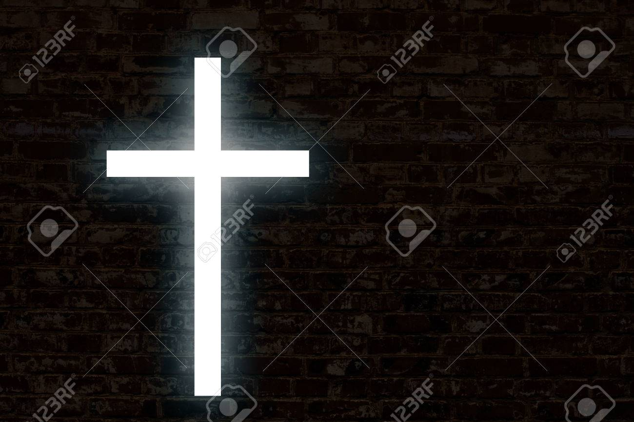 Glowing cross on a brick wall. Church background - 66841085