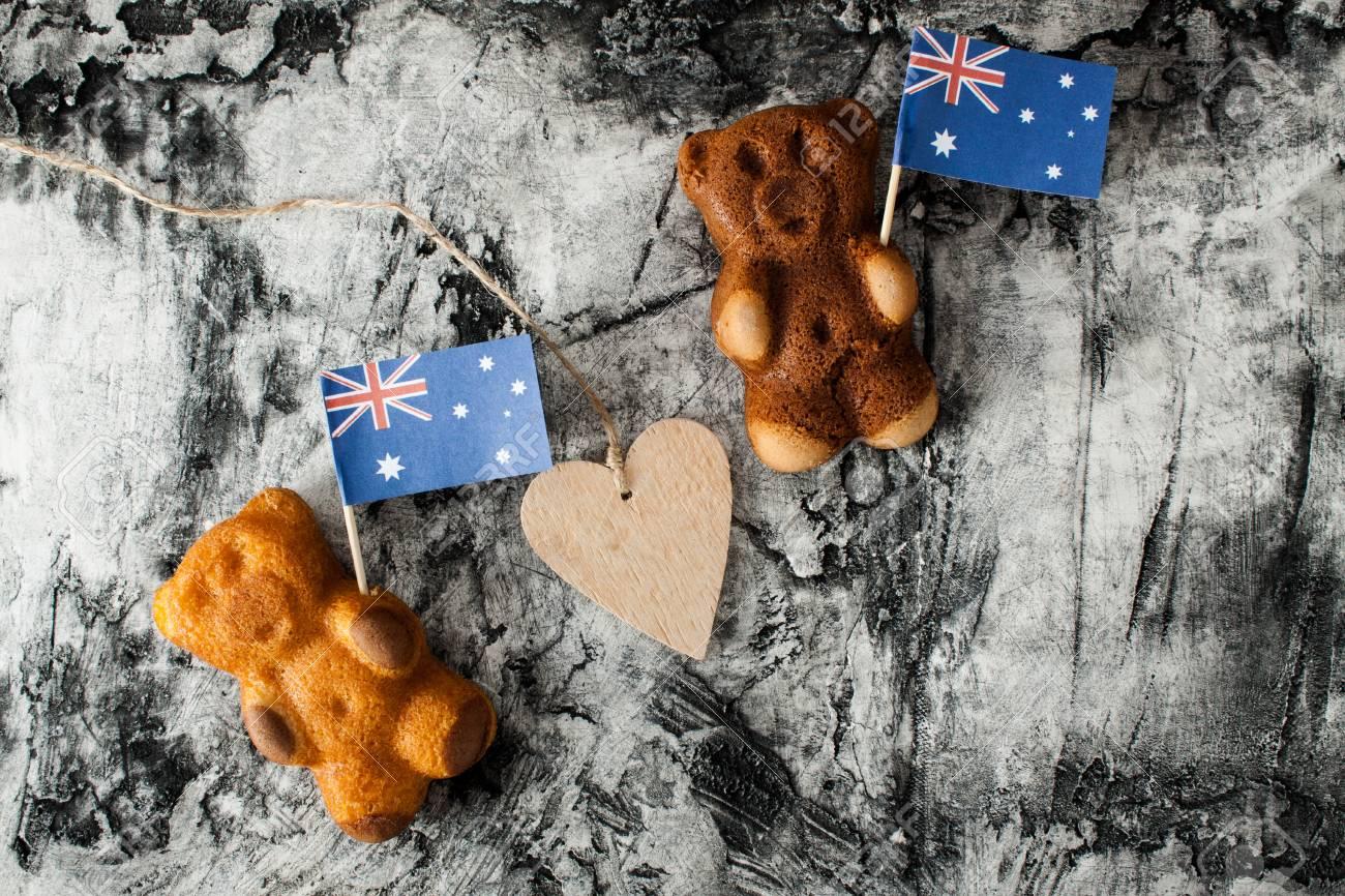 Cake Bear And Australia Flag Greeting Card National Day Stock