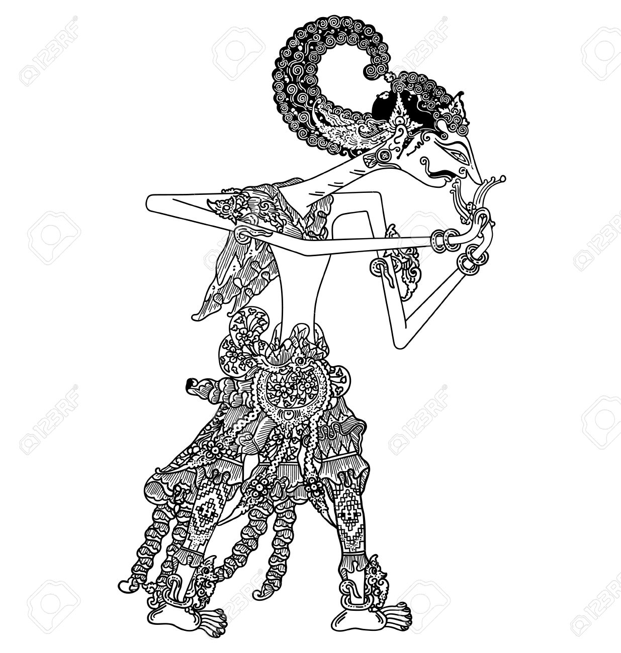 A Character Of Traditional Puppet Show, Wayang Kulit From Java ...