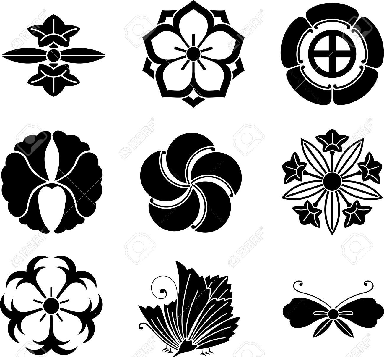 japanese family crests royalty free cliparts, vectors, and stock, Natural flower