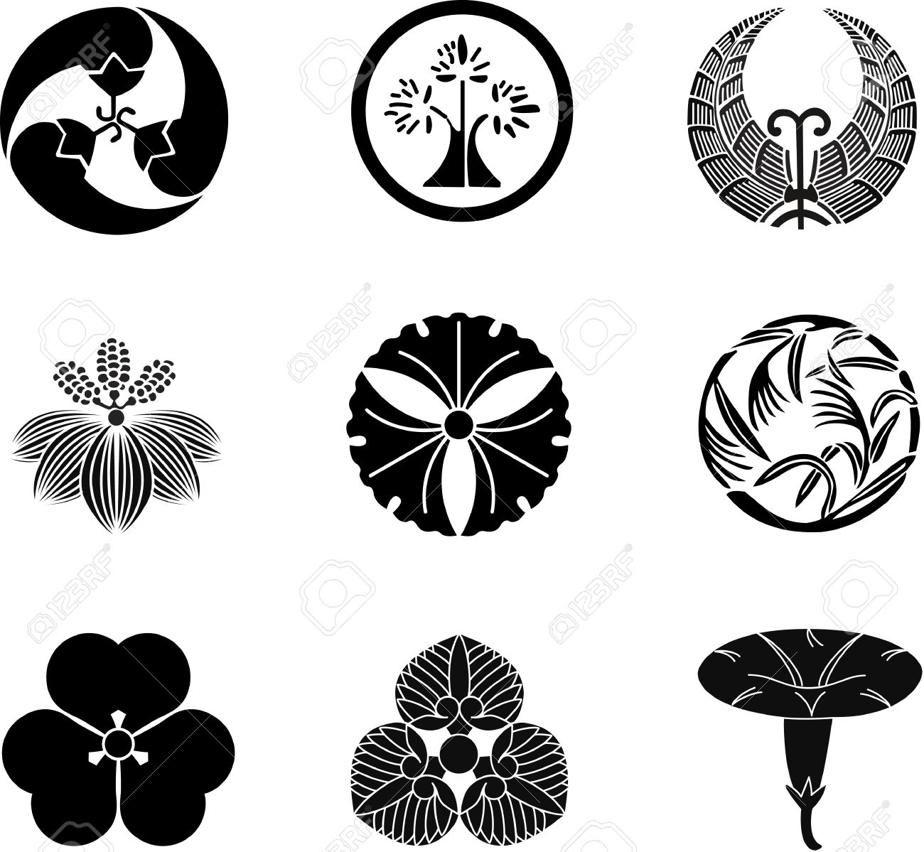 Japanese flower symbols gallery symbol and sign ideas japanese family crests vector 11 royalty free cliparts vectors japanese family crests vector 11 stock vector biocorpaavc