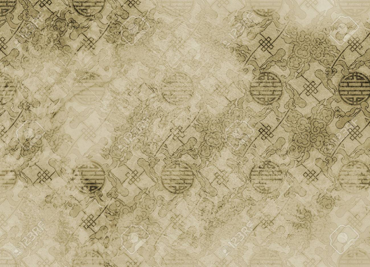 Chinese textured pattern in filigree for background or wallpaper rough and vintage - 40500472