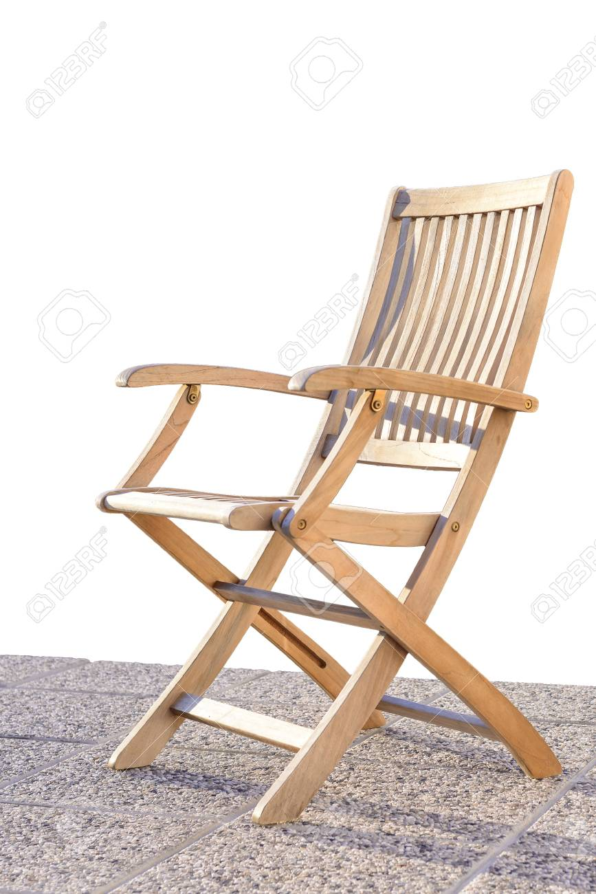 Foldable Deck Chair On Outdoor Terrace, Made Of Teak Tropical Hardwood  Stock Photo   65797846