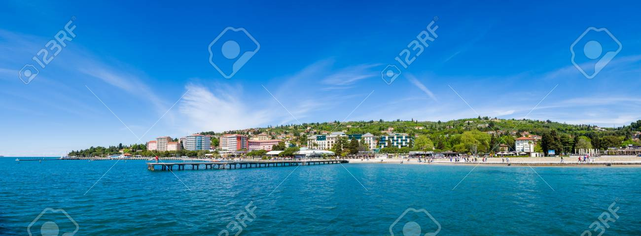 Large panorama of Portoroz beach and holiday resort, Slovenia - 85200966