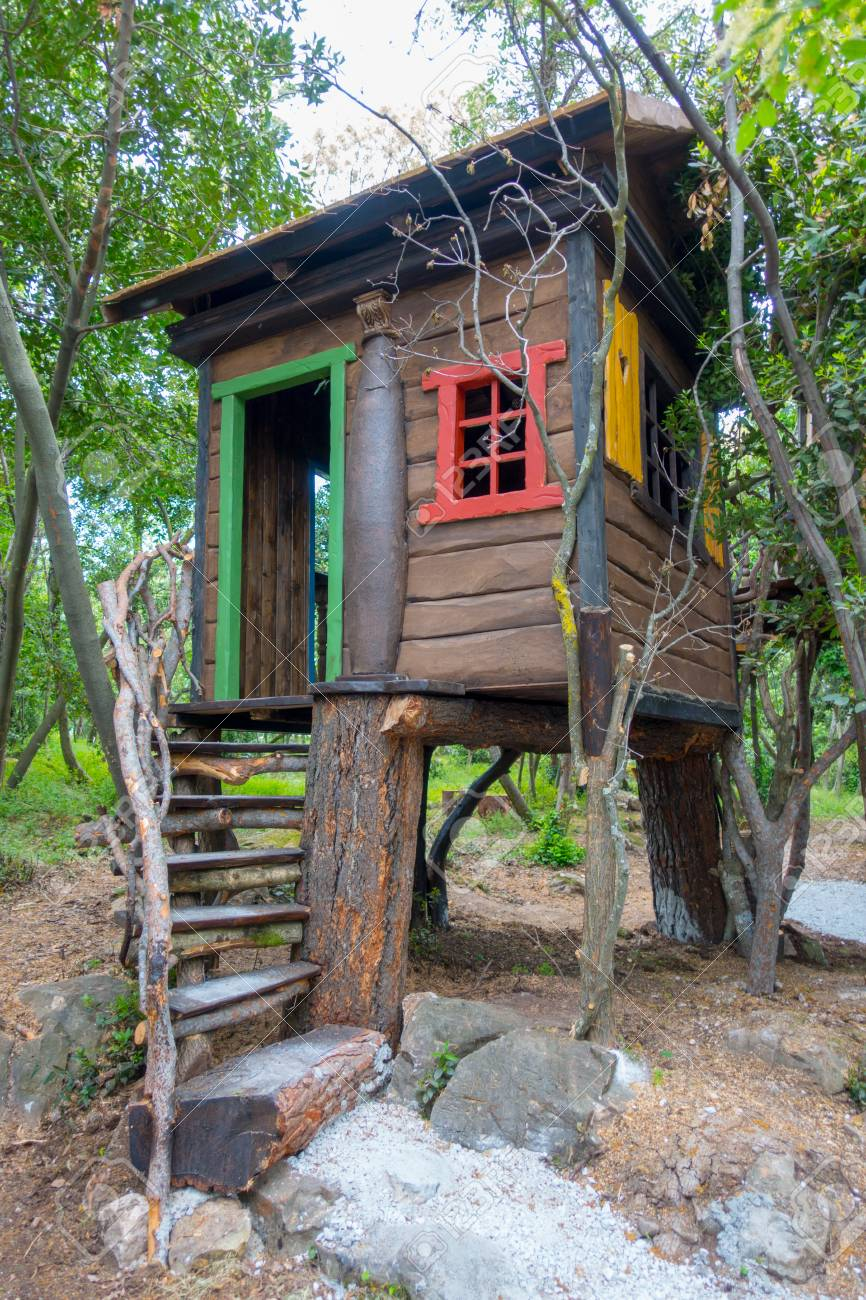 Picture of: Fantasy Tree House For Children Playing Outdoors In The Garden Stock Photo Picture And Royalty Free Image Image 101934529