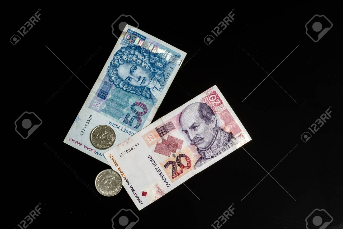 Kuna Croatian Currency Coins And Paper Notes Isolated On Black
