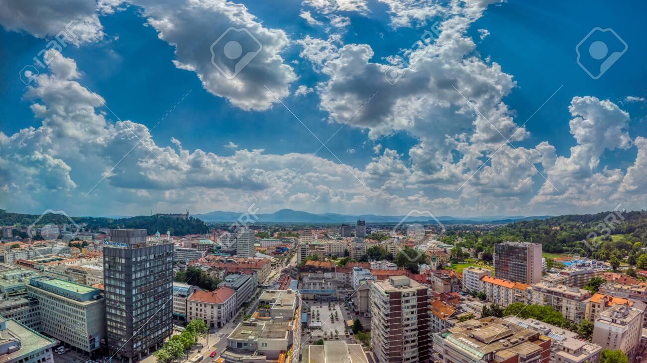 Ljubljana, Slovenia - June 20 2019: Panoramic view of Slovenia capital from the terrace of the Intercontinental hotel - 137009828