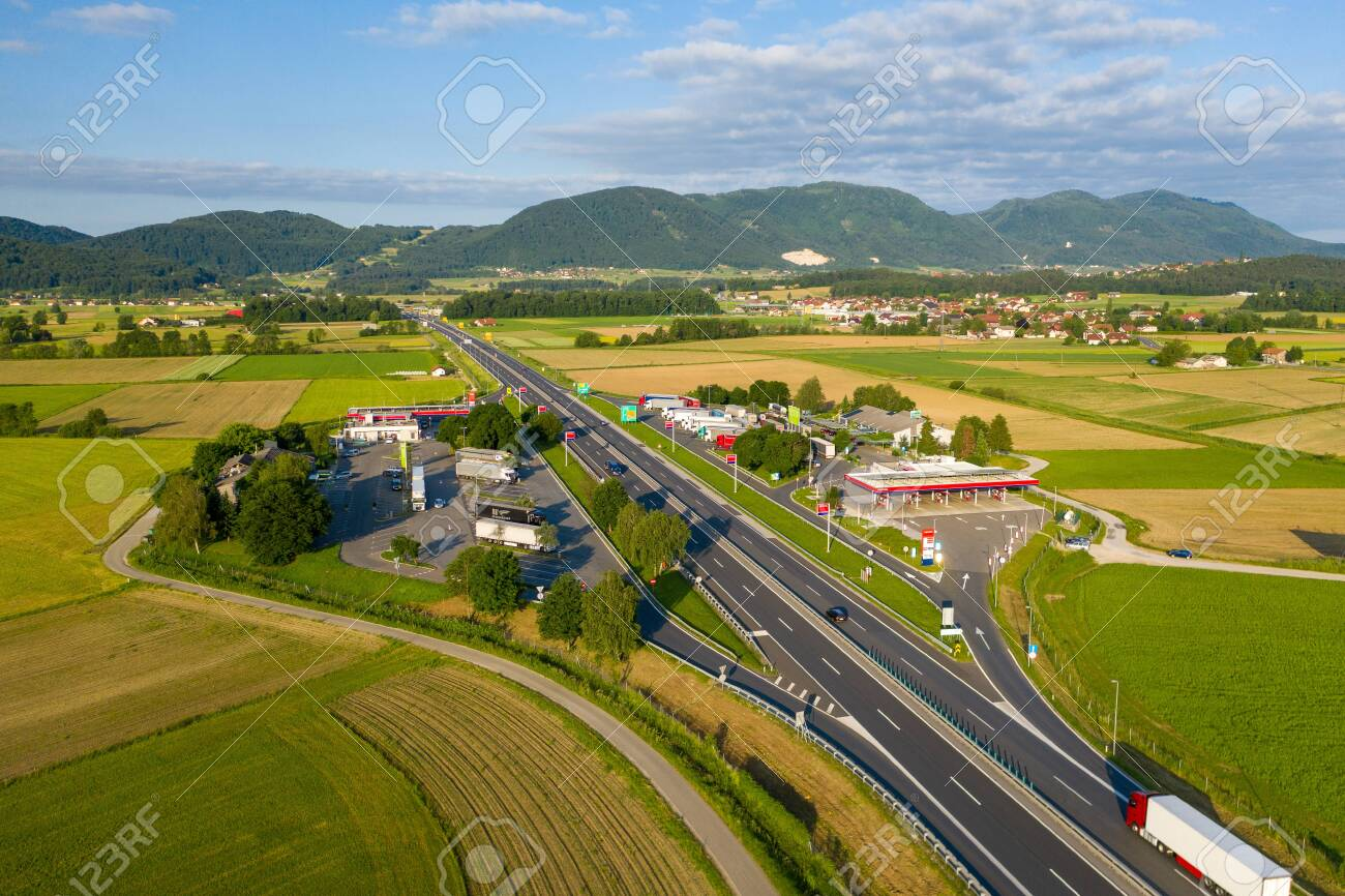 Slovenske Konjice, Slovenia - June 16 2019: Aerial view of truck stop on highway in Slovenia, Tepanje rest area with petrol station is located on the busiest highway towards Ljubljana - 137009909