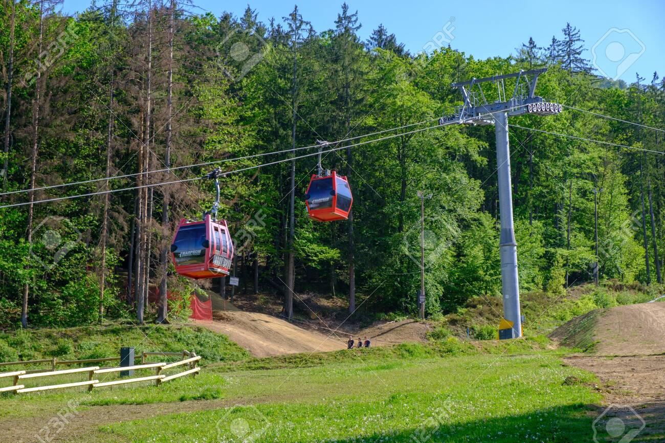Maribor, Slovenia - May 2, 2019: Pohorska vzpenjaca cable car at lower station in Maribor, Slovenia, a popular destination for hiking and downhill mountain biking - 137009930