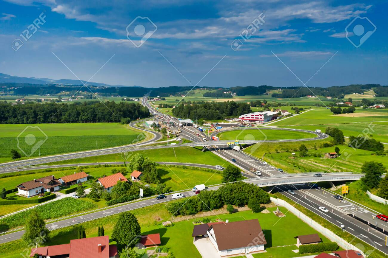 Slovenske Konjice, Slovenia - June 16 2019: Aerial view of construction works on Tepanje toll station on A1 highway in Slovenia. Toll stations are removed due introduction of electronic toll payment - 137009934