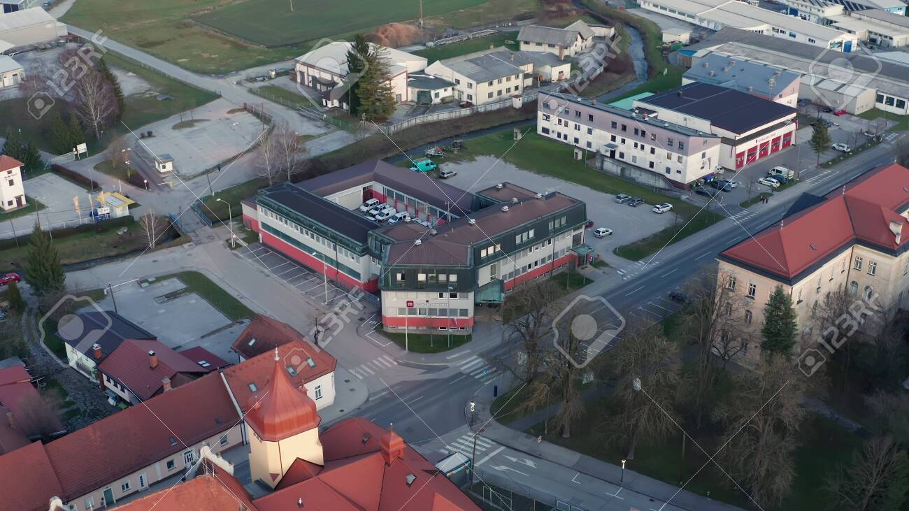 Slovenska Bistrica, Slovenia - Dec 25 2019: Elektro Maribor branch office in Slovenska Bistrica, aerial view of electricity power supply and grid maintenace company in Slovenia - 137012197