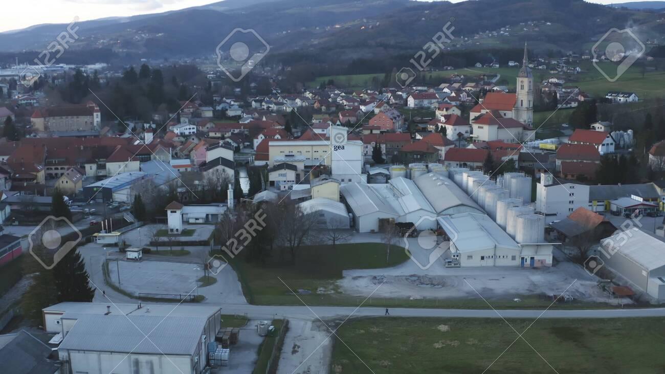 Slovenska Bistrica, Slovenia - Dec 25 2019: Aerial view of Gea Oil Mill in Slovenska Bistrica, Slovenia - 137012201