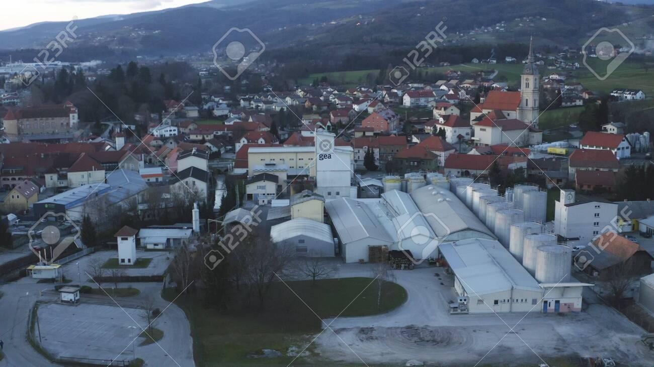 Slovenska Bistrica, Slovenia - Dec 25 2019: Aerial view of Gea Oil Mill in Slovenska Bistrica, Slovenia - 137012202