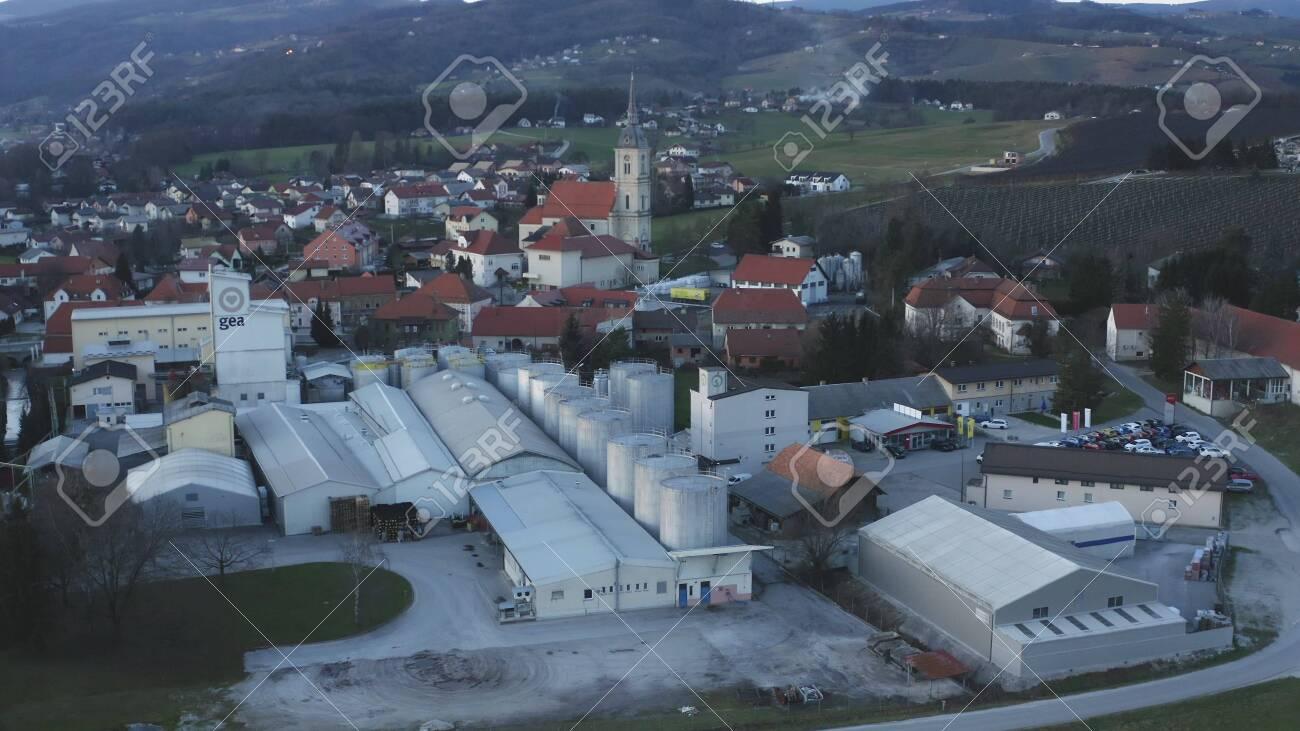 Slovenska Bistrica, Slovenia - Dec 25 2019: Aerial view of Gea Oil Mill in Slovenska Bistrica, Slovenia - 137012203