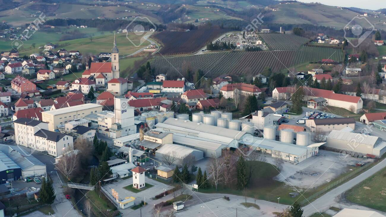 Slovenska Bistrica, Slovenia - Dec 25 2019: Aerial view of Gea Oil Mill in Slovenska Bistrica, Slovenia - 137012204