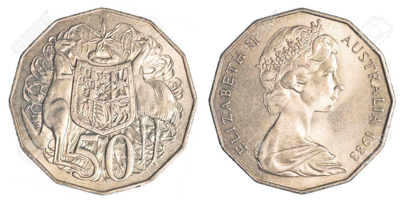 Ein Halb Australische Dollar Münze Isoliert Auf Weißem Hintergrund