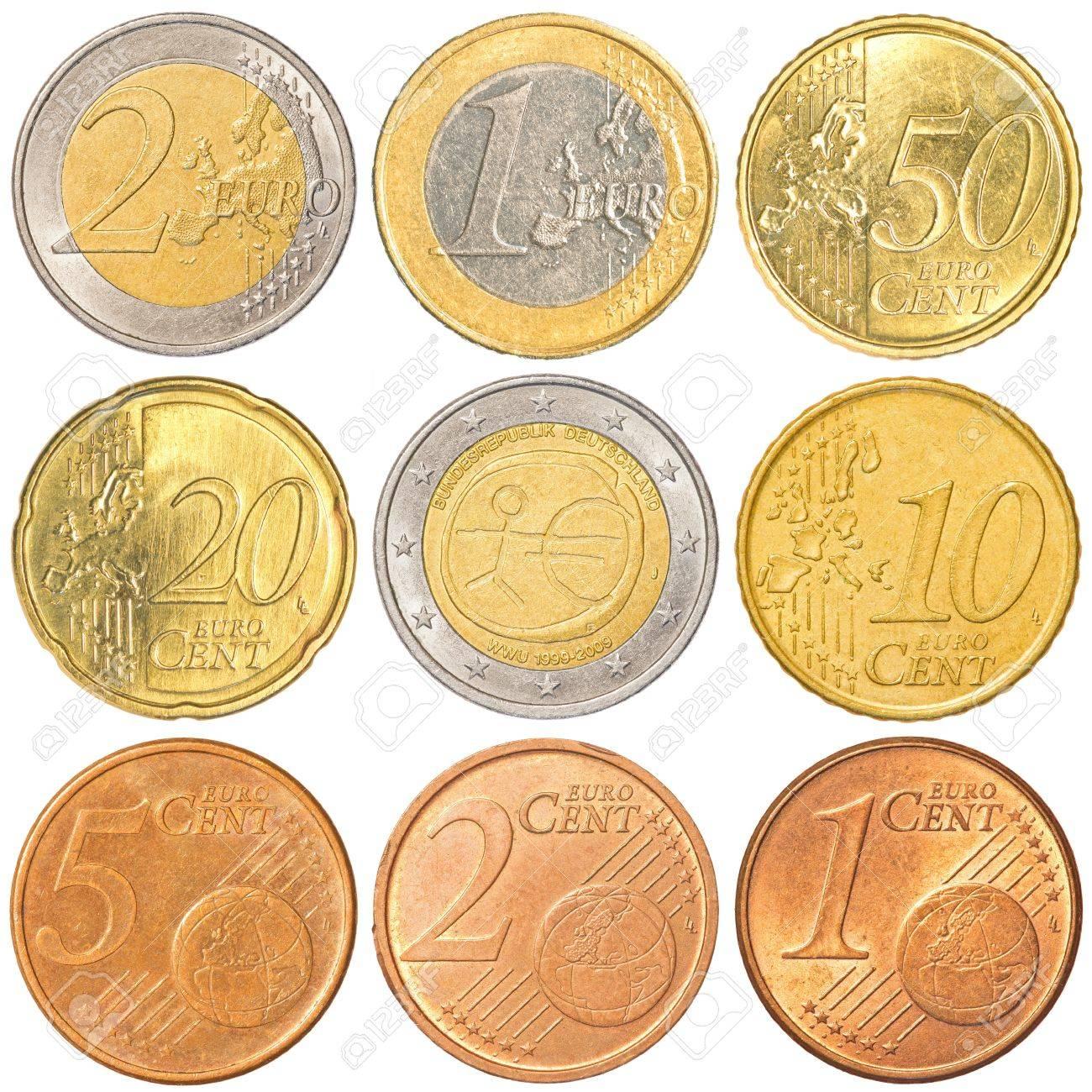 Euro Münzen Sammlung Gesetzt Isoliert Auf Weißem Hintergrund