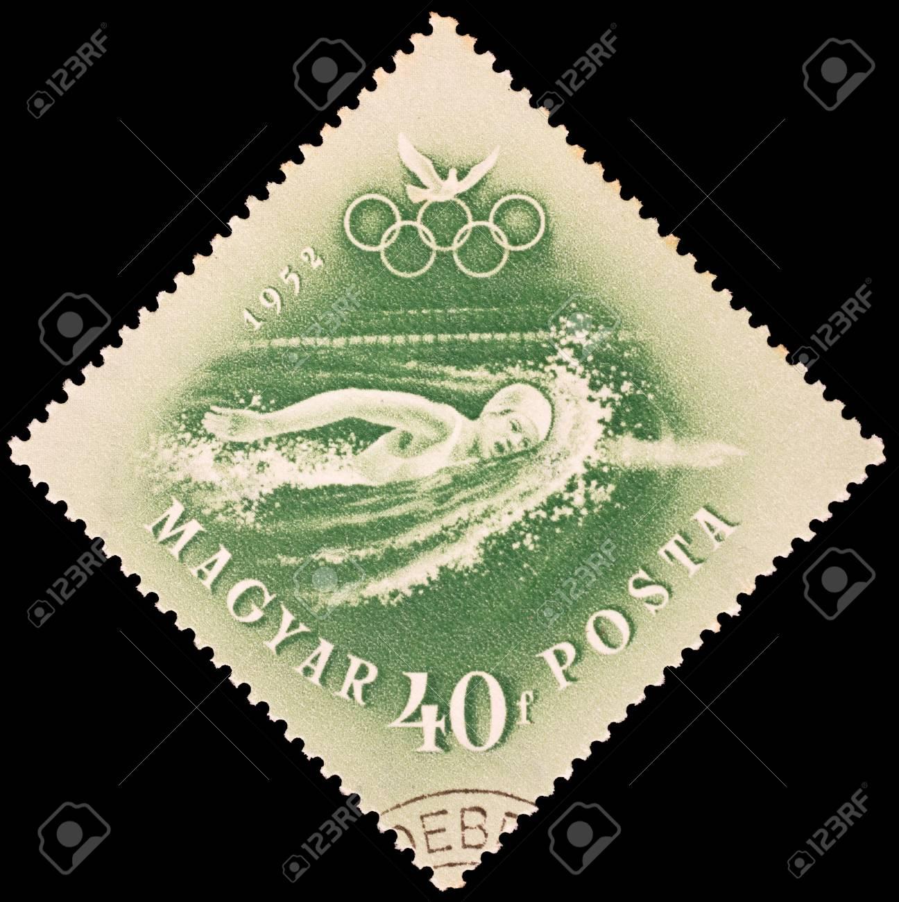 Hungary - CIRCA 1952  stamp printed by Hungary, shows swimming, series, circa 1952 Stock Photo - 19442407