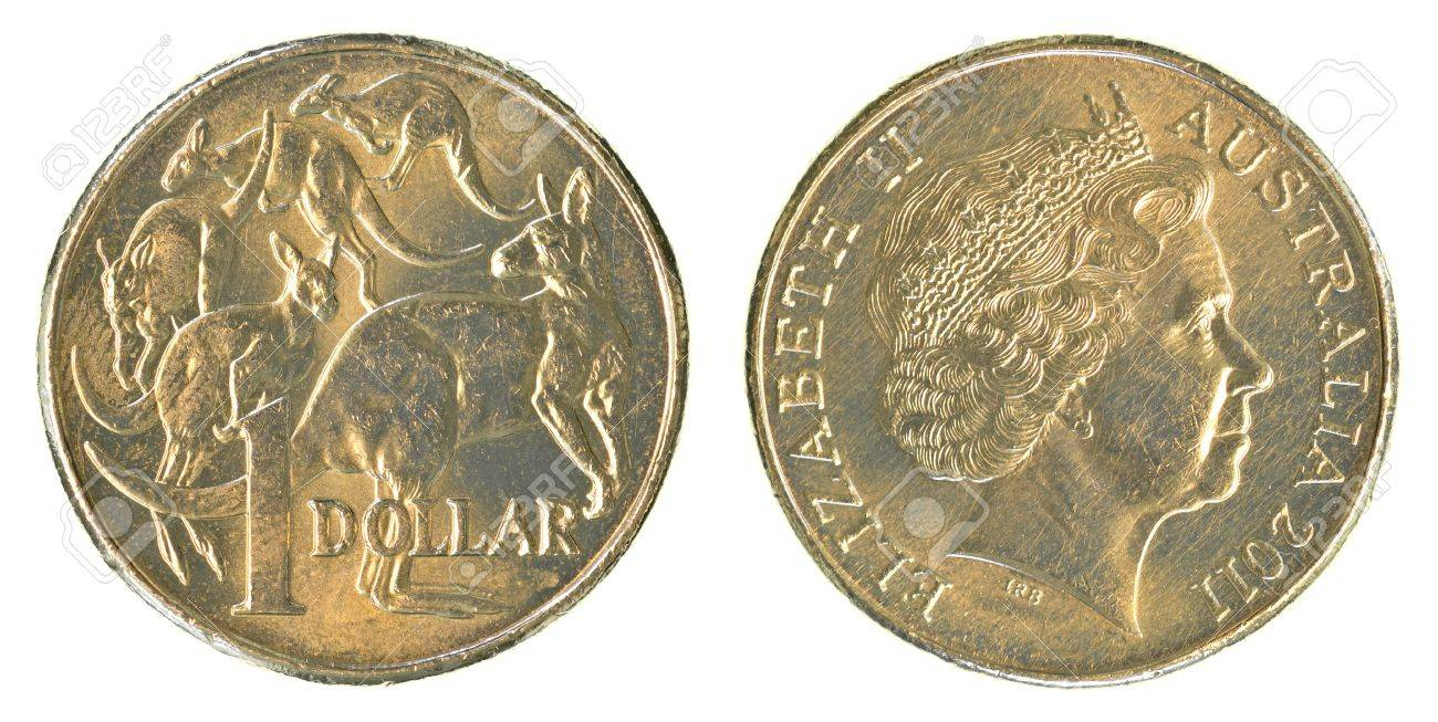 Eine Australische Dollar Münze Auf Weißem Hintergrund Lizenzfreie