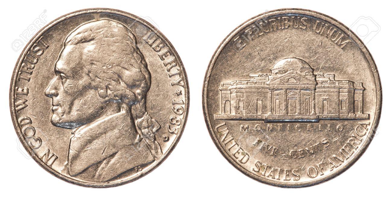 Fünf Amerikanische Cent Münze Nickel Auf Weißem Hintergrund