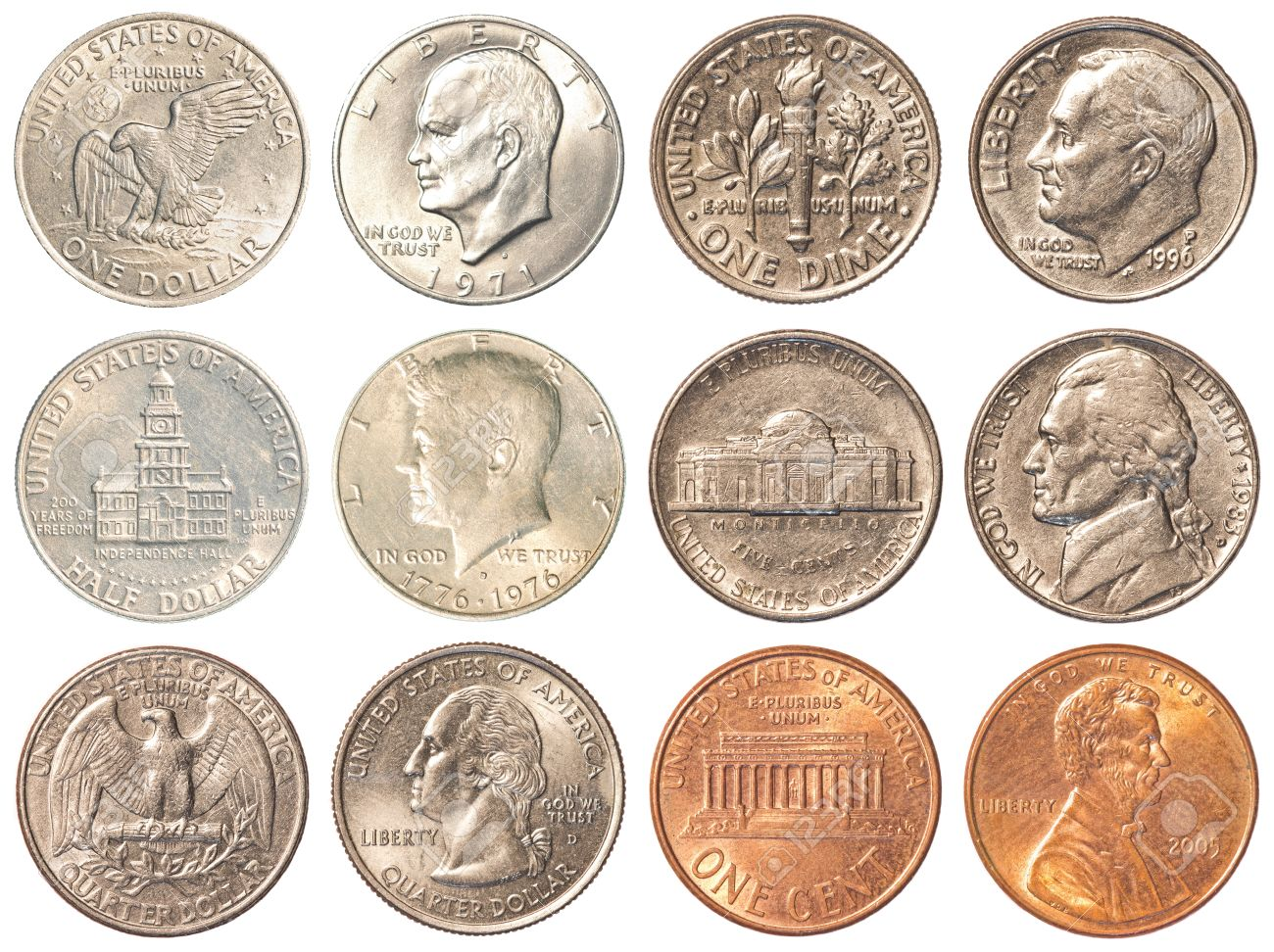 Eine Sammlung Aller In Umlauf Befindlichen Münzen In Den Vereinigten