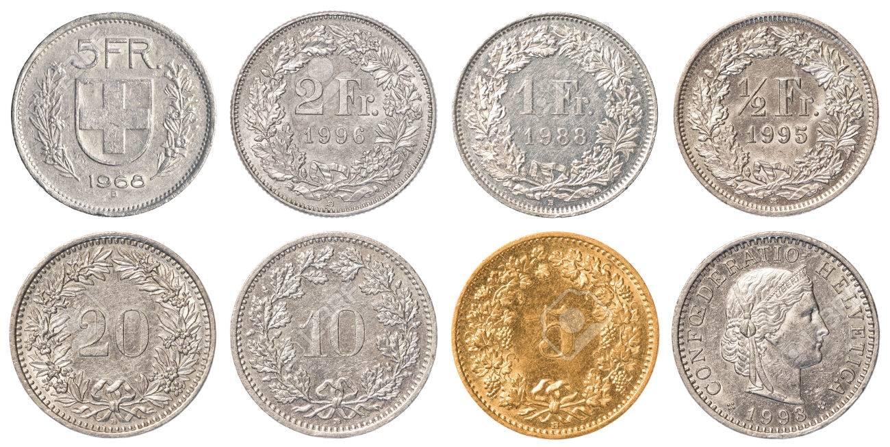 Schweizer Franken Münzen Sammlung Satz Isoliert Auf Weißem