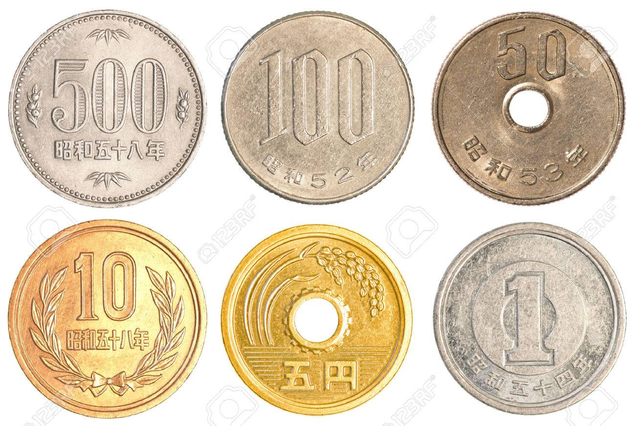 japanese yen coins collection set isolated on white background stock