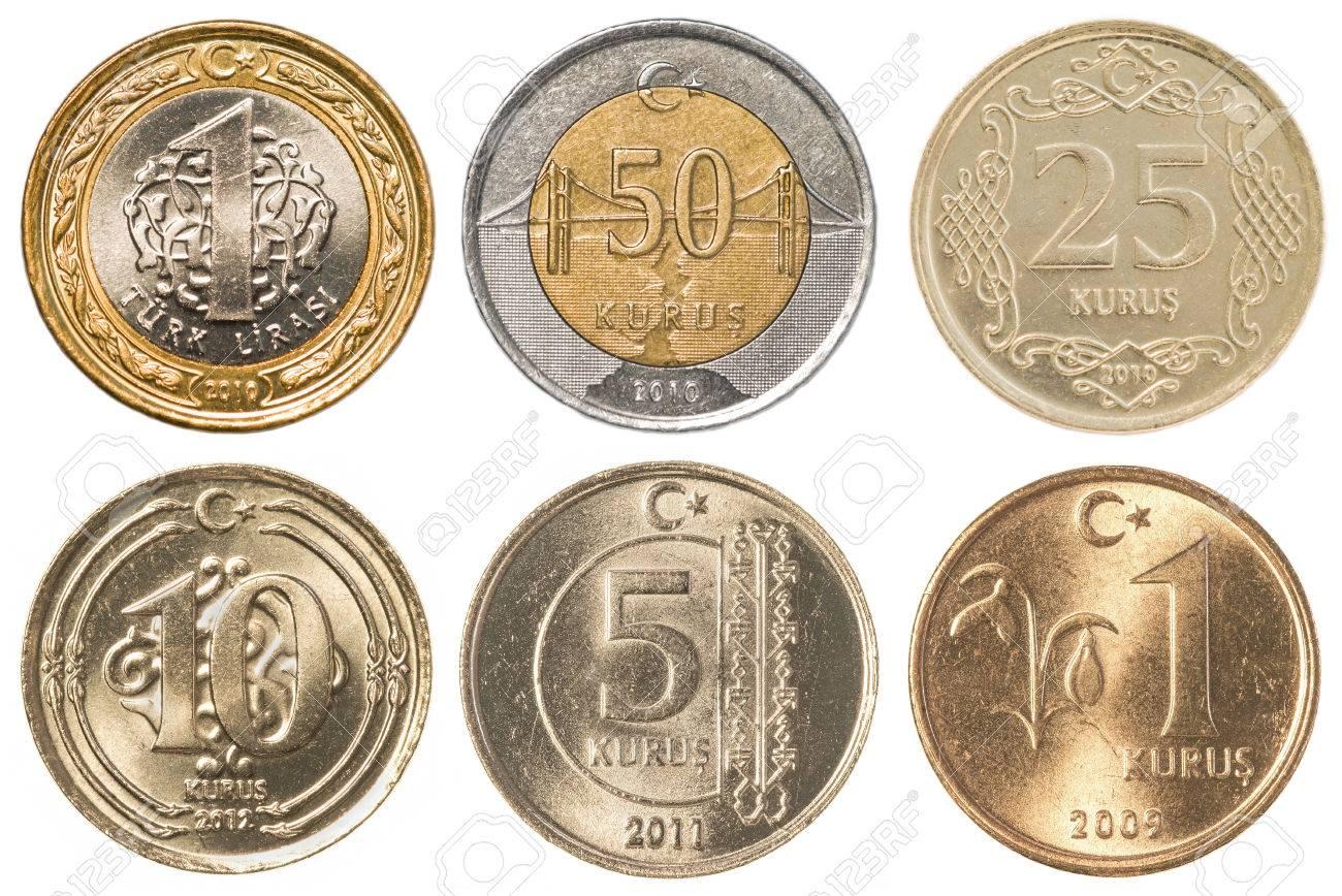 Türkische Lira Münzen Sammlung Gesetzt Isolaten Auf Weißem