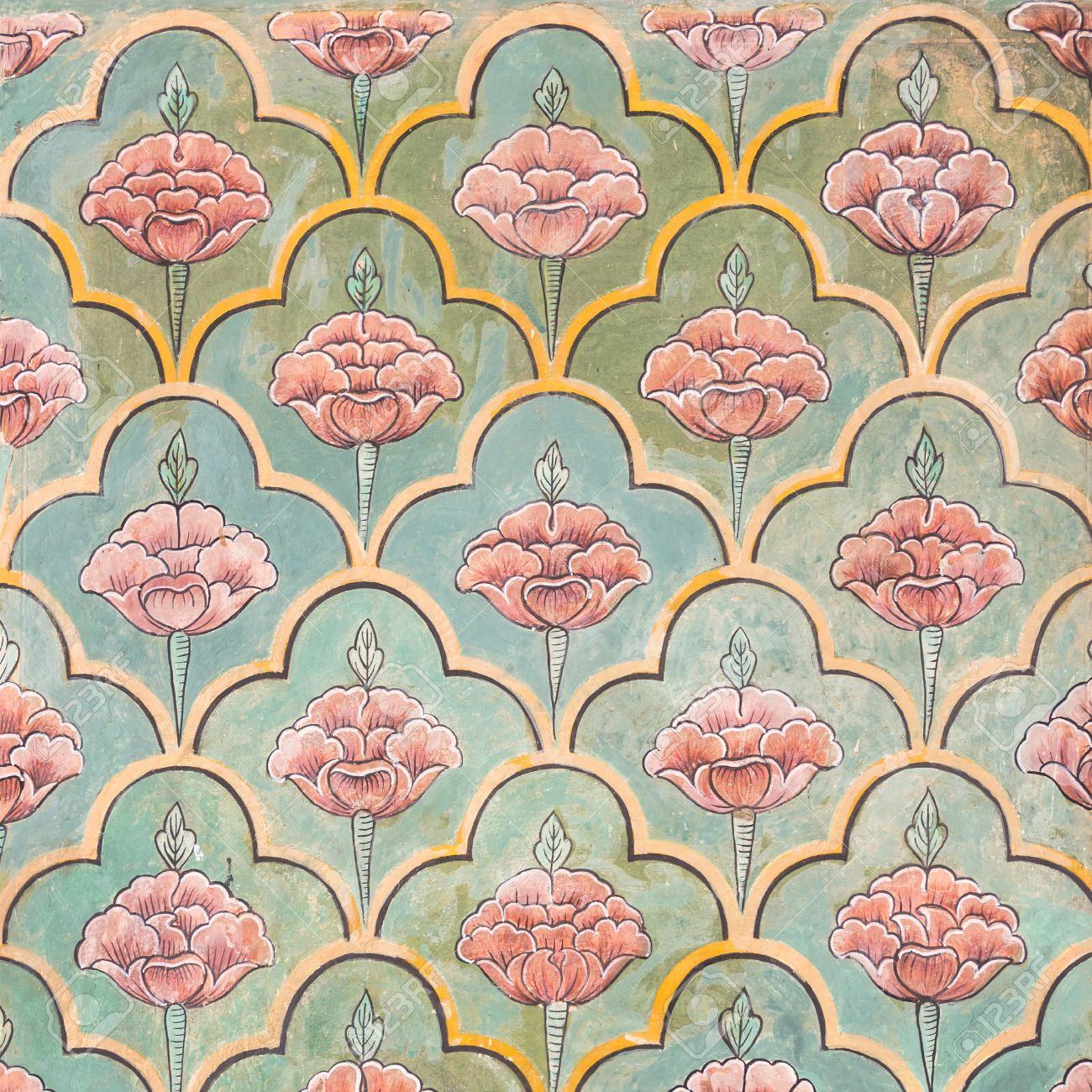 Mughal Wall Paintings At Jaipur City Palace Rajasthan India