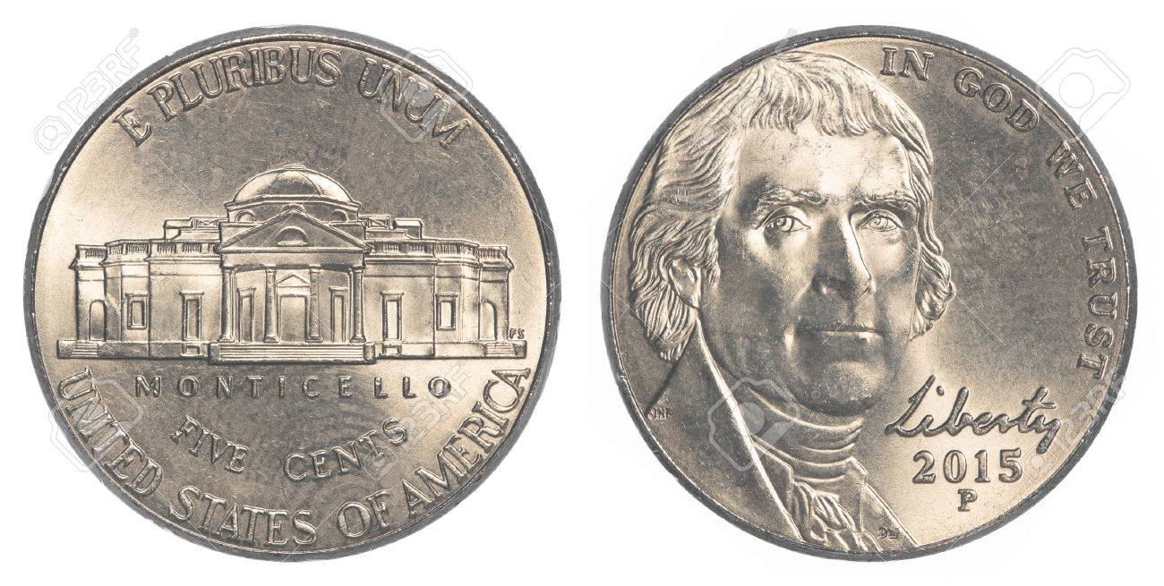 Amerikaner Fünf Cent Münze Jefferson Nickel Isoliert Auf Weißem