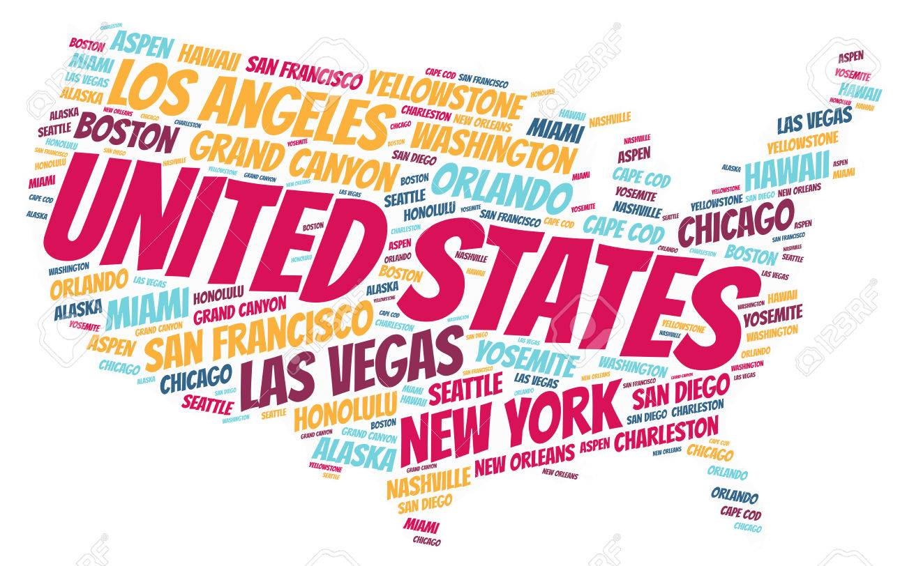 United States Map Silhouette Word Cloud With Most Popular Travel Destinations Stock Po 65336797
