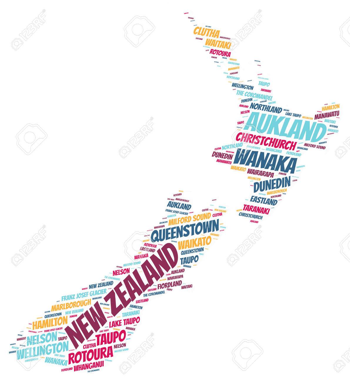 New Zealand Map Silhouette Word Cloud With Most Popular Travel Destinations Stock Photo