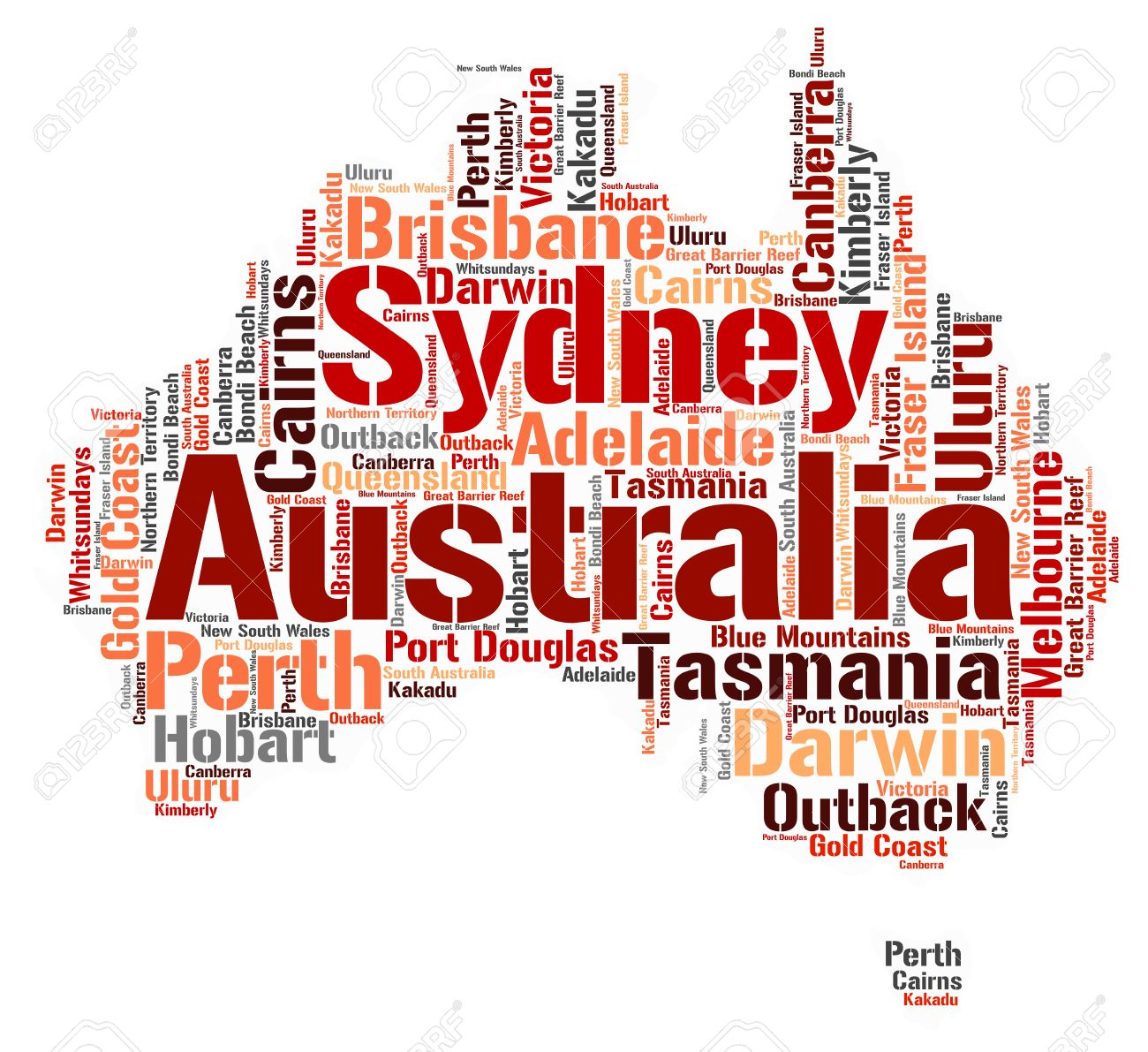 Australia Word Map.Australia Map Silhouette Word Cloud With Most Popular Travel