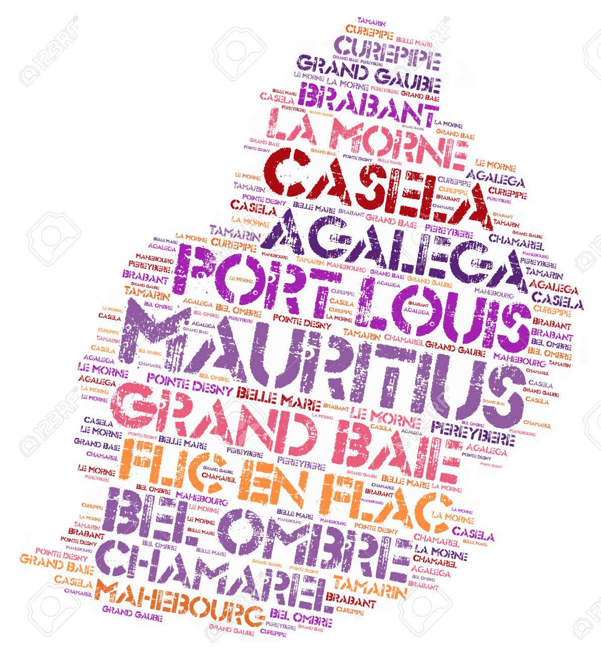 Mauritius Map Silhouette Word Cloud With Most Popular Travel - Maurtius map