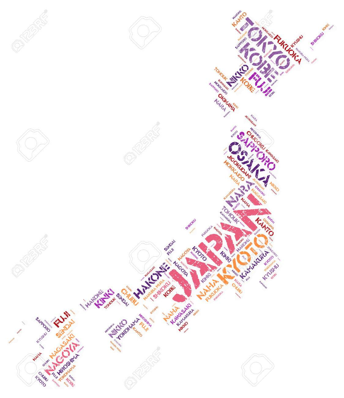Japan Map Silhouette Word Cloud With Most Popular Travel - Japan map silhouette