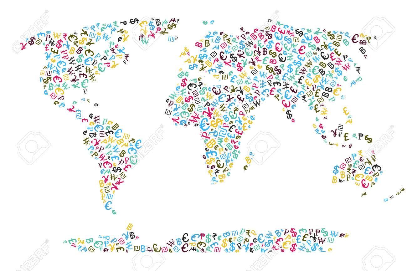 World currencies symbols portrayed on world map global economy world currencies symbols portrayed on world map global economy concept stock photo 65336939 buycottarizona Gallery
