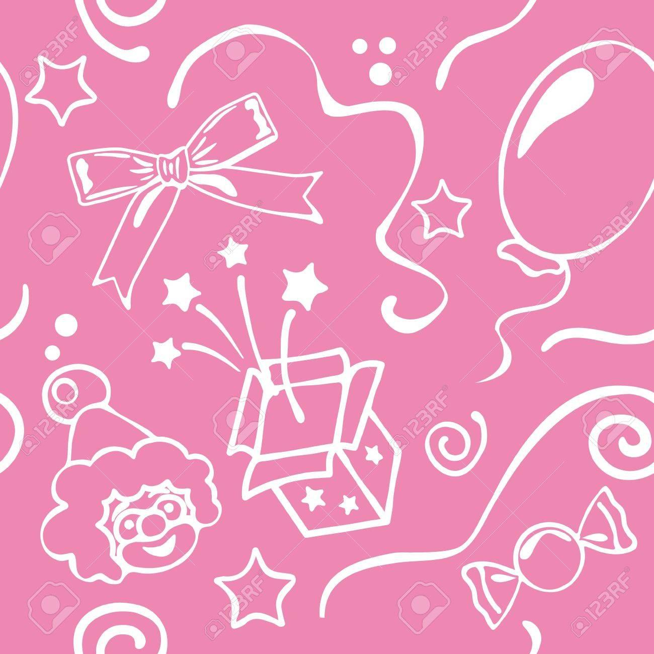 Girl Birthdays Seamless Background Stock Vector