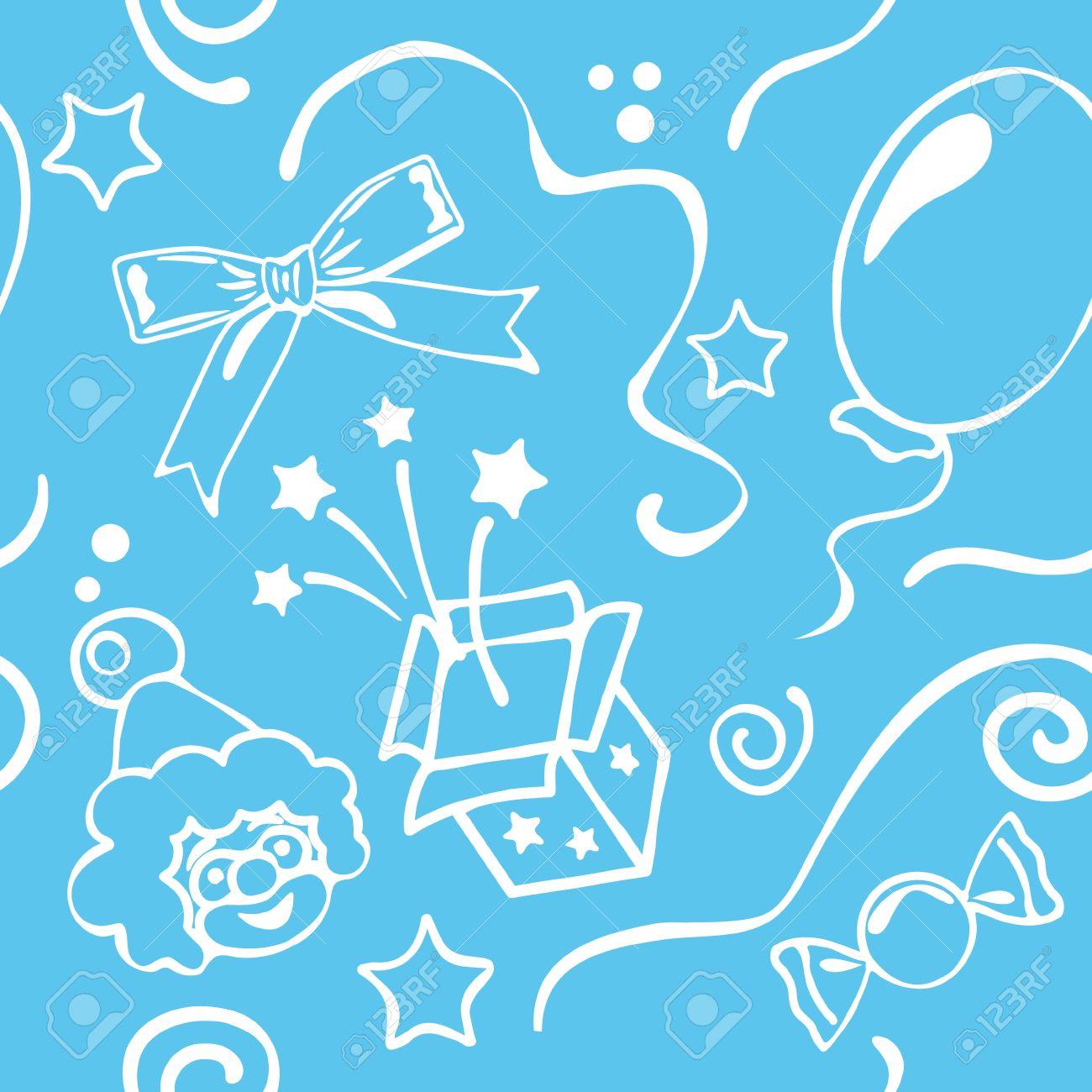 Boy Birthdays Seamless Background Stock Vector