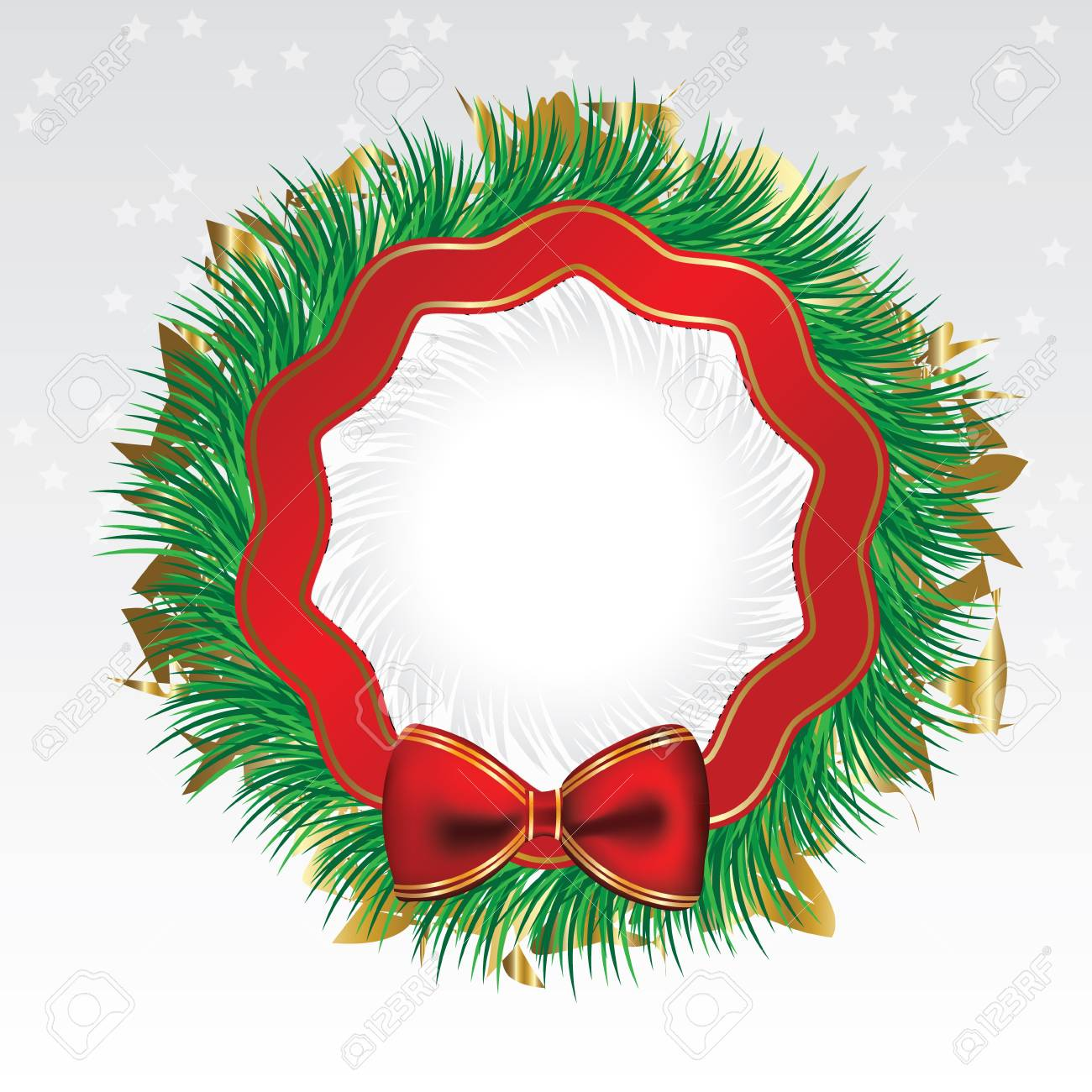 Pine Christmas chaplet with bow and spangles Stock Vector - 16169331